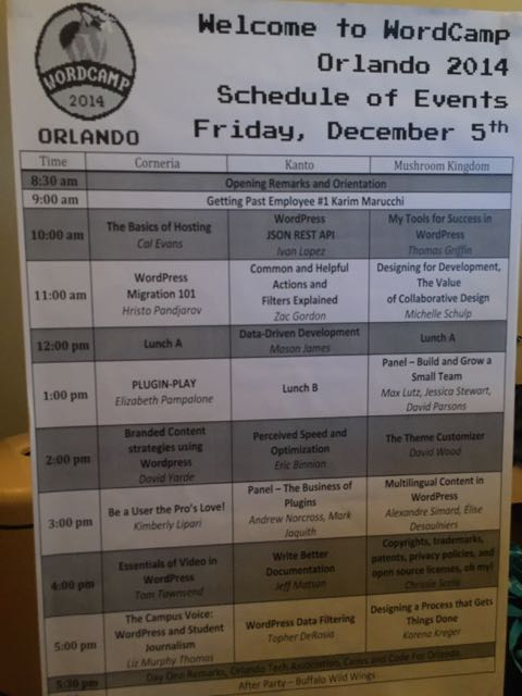 Orlando WordPress Word Camp agenda