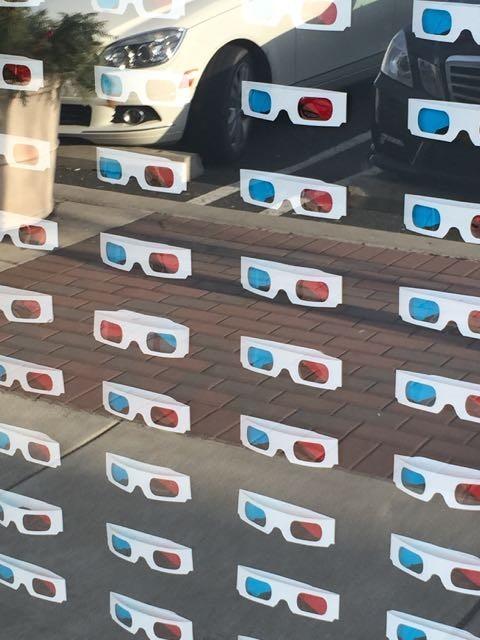 Store window full of 3D glasses