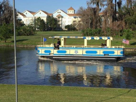 Disney pontoon boat shuttle to Disney's Port Orleans Riverside