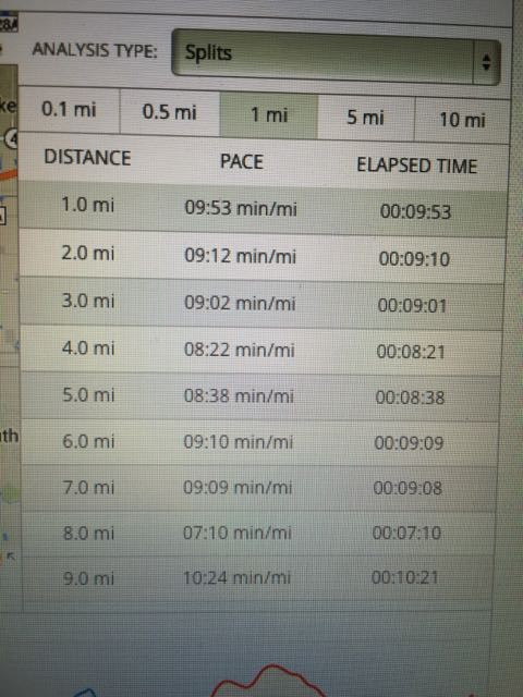 Map My Run mile splits