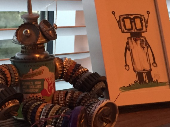 Robot sculpture and drawing