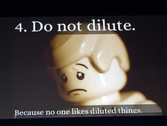 Keynote presentation slide featuring a lego figure
