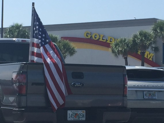 American Flag in Gold's Gym parking lot.