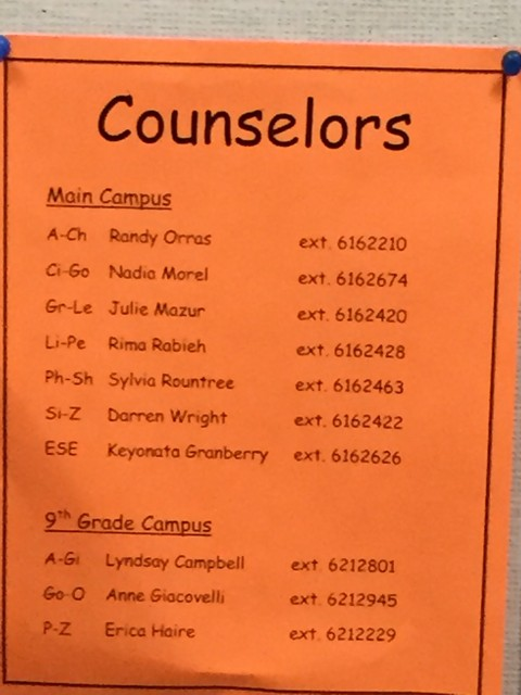 West Orange High School 9th grade center Guidance Counselors