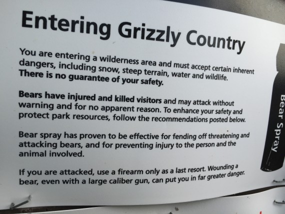 Grizzly Bear warning signs in Glacier National Park