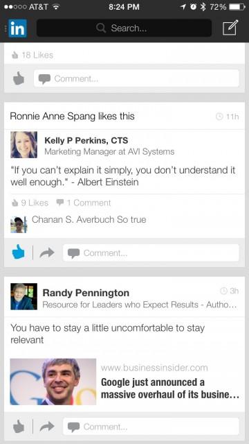 LinkedIn mobile screen shot