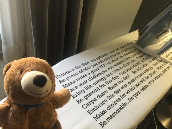 Teddy bear and hotel room ironing board