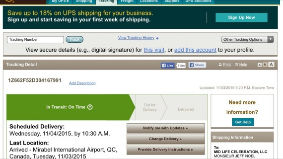 UPS tracking screen shot