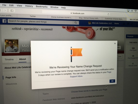 Facebook Business Page name change request