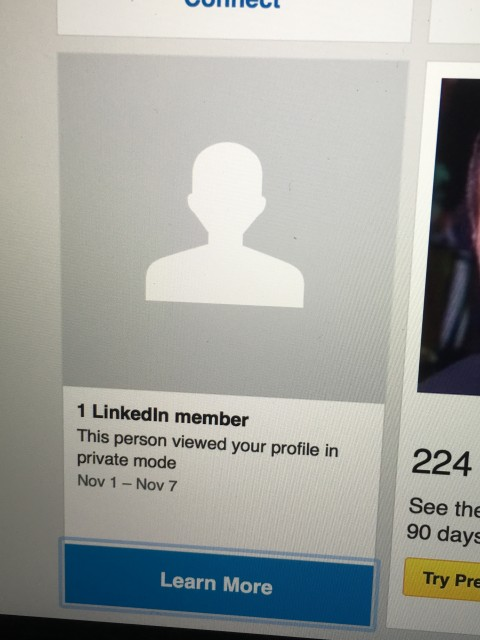 LinkedIn private profile viewing screen shot