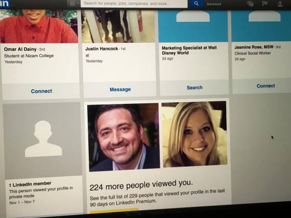 LinkedIn profile view screen shot