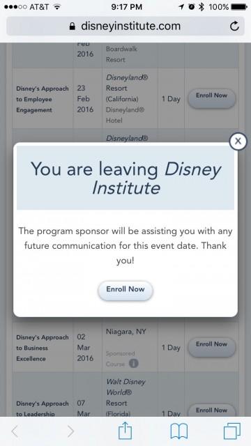 Disney Institute website screen shot