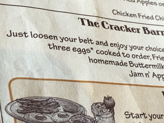 Cracker Barrel breakfast menu