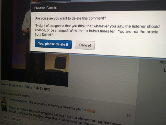 LinkedIn delete comment screen shot