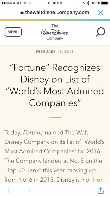 Disney most admired company