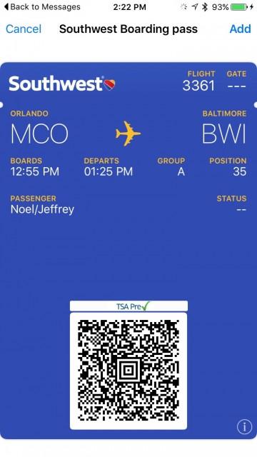 Southwest Air digital boarding pass