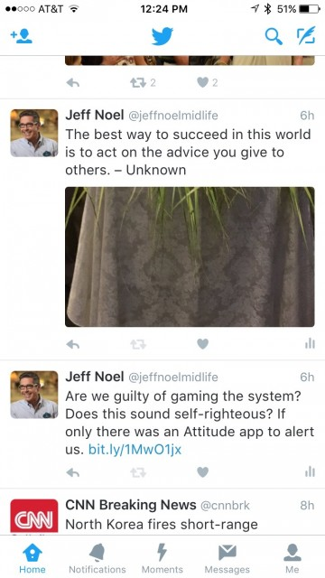 jeff noel's Twitter feed screen shot