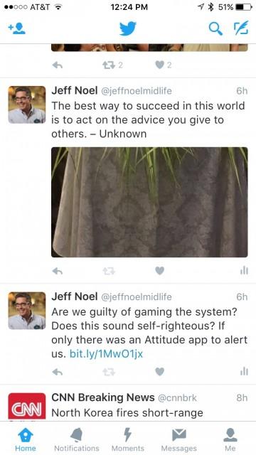 jeff noel's Twitter feed screen shot