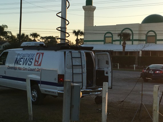 WFTV channel 9 news van at Mosque