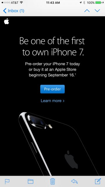 iPhone 7 email announcement