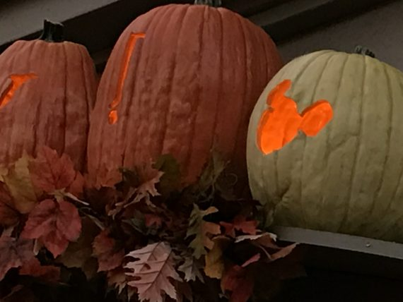 Three Disney pumpkins