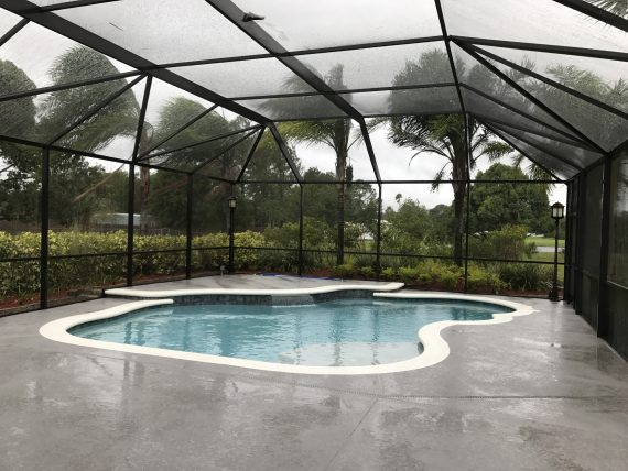 Swimming pool deck prepared for hurricane