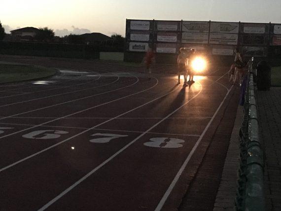 High school track at dawn