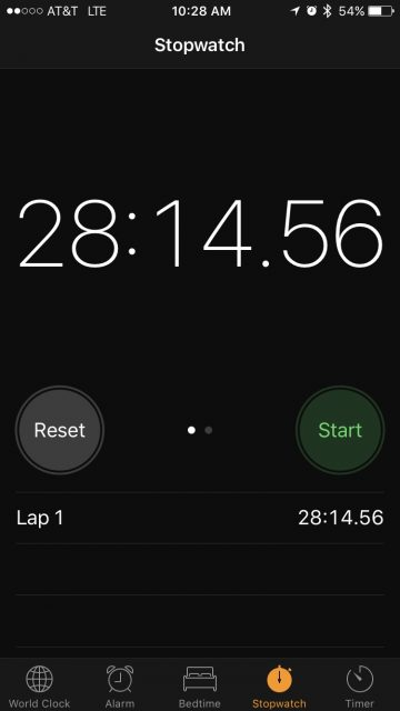 Apple iPhone stopwatch