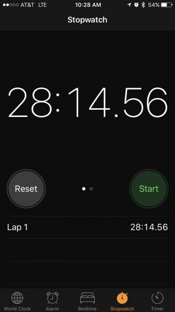 Apple iPhone stopwatch