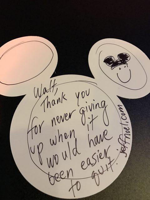 special note to Walt Disney