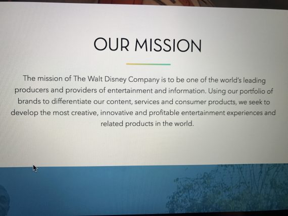 Walt Disney Company Mission statement