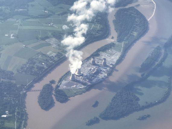 Three mile island aerial view