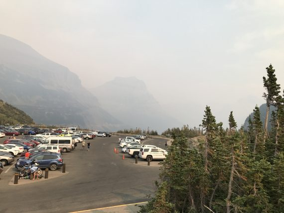 Logan Pass Parking lot smokey