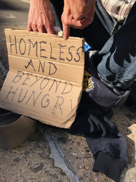 Homeless sign in Philadelphia