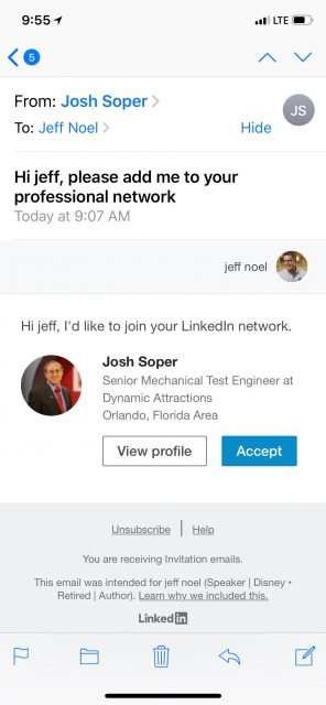 LinkedIn profile screen shot