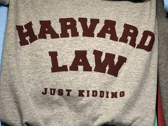 Harvard Law tee shirt