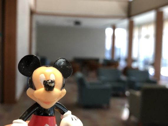 mickey Mouse figurine in college dorm