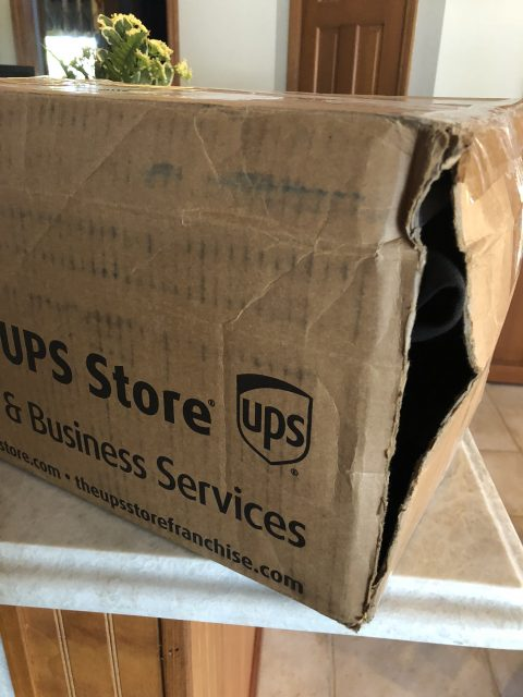 damaged UPS box