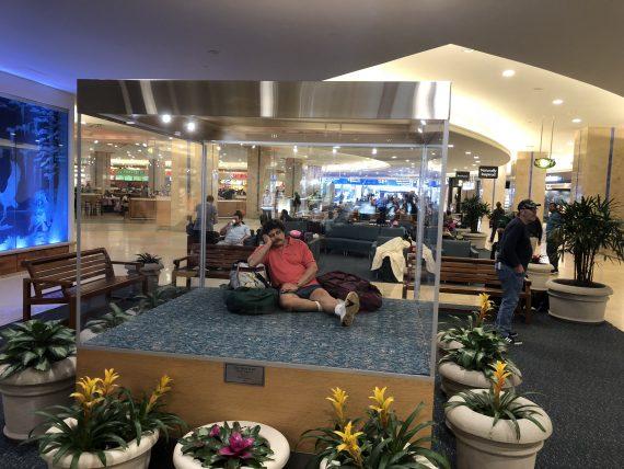 human statue at Orlando airport