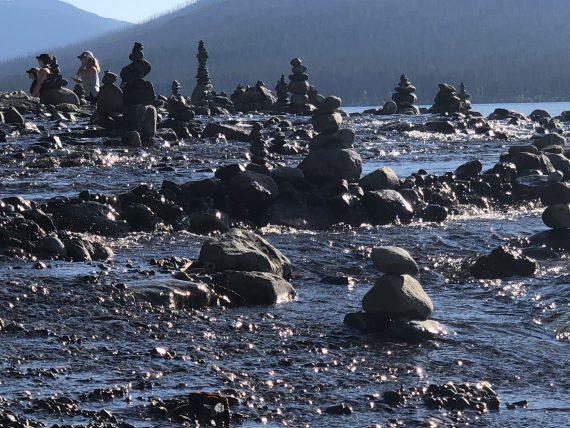 Rock sculpture towers at Glacier