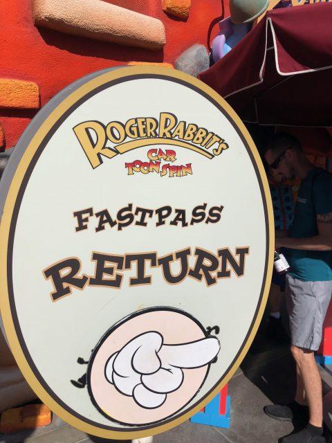 Disney Fast Pass return sign
