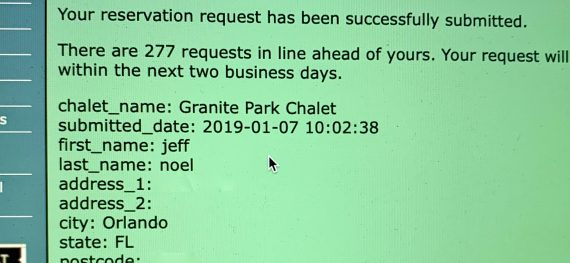 Granite Park Chalet request