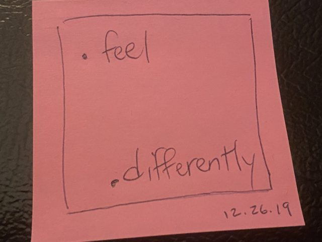 post it note about feel differently