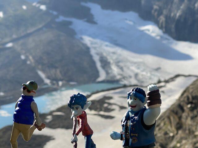 Pixar Onward figurines in mountain setting