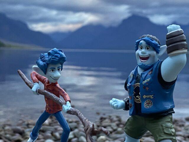 Pixar Onward toys by mountain lake