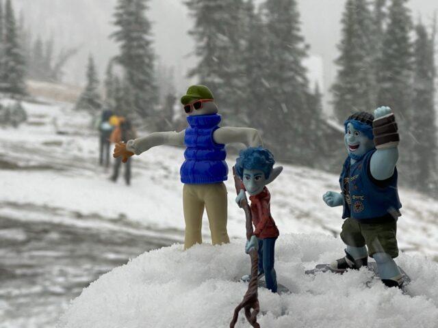 Pixar Onward toy characters in snow