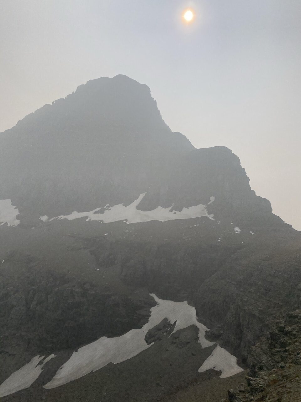mountain in haze