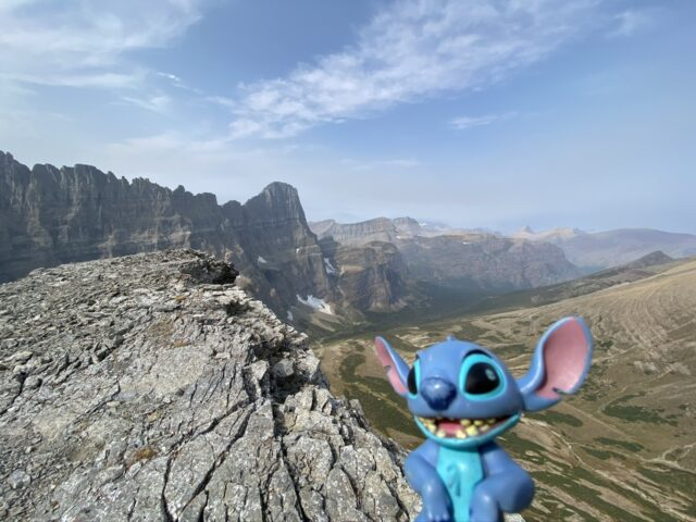 Stitch toy in mountains