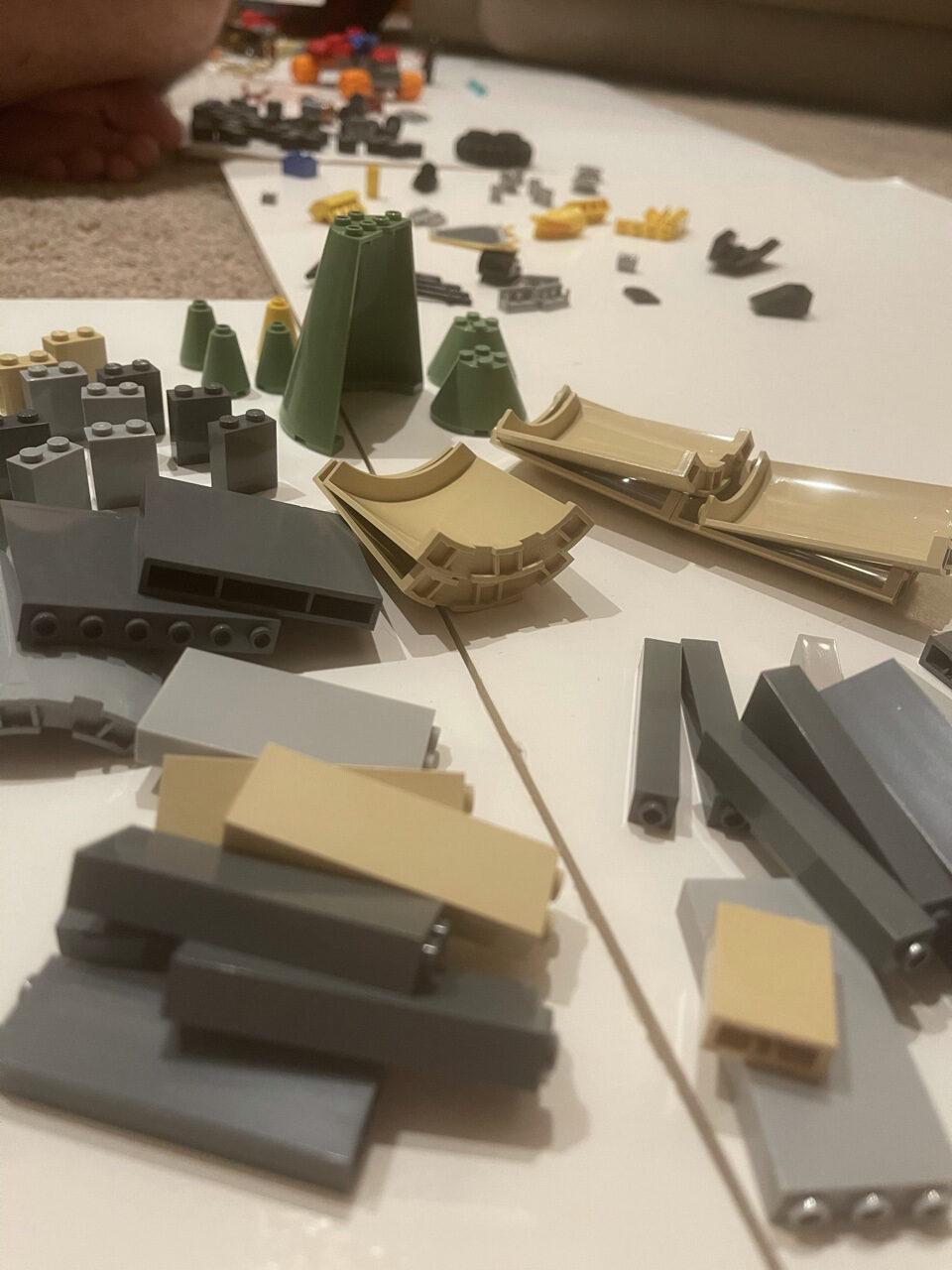 Lego pieces on floor
