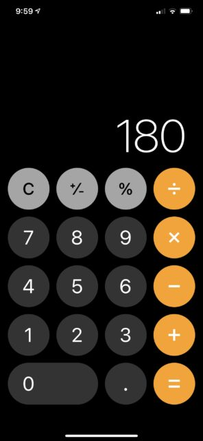iPhone calculator image with 180